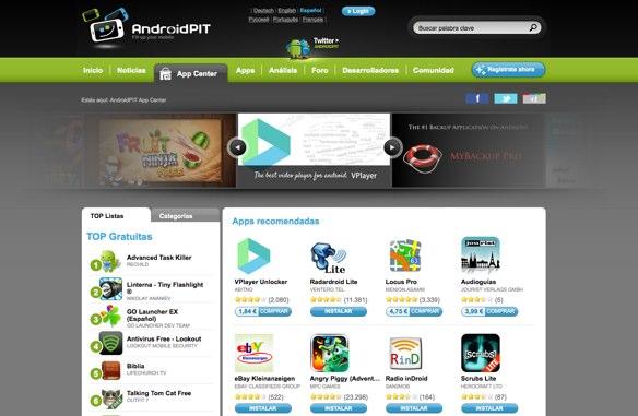 AndroidPIT, una alternativa para la descarga de aplicaciones para Android.