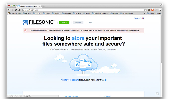 Filesonic y FileServe, siguen el camino de Megaupload
