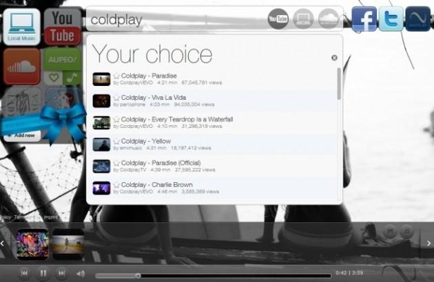 Navegas, un reproductor de música online con Youtube, Soundcloud, Aupeo y música local.