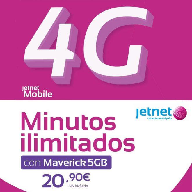 Jetnet multiplica por cinco los minutos en su tarifa Maverick 5 GB